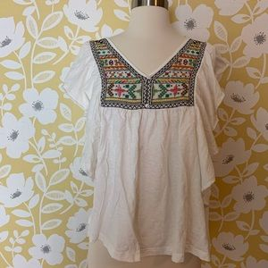 Anthropologie Ranna Gill embroidered boho blouse